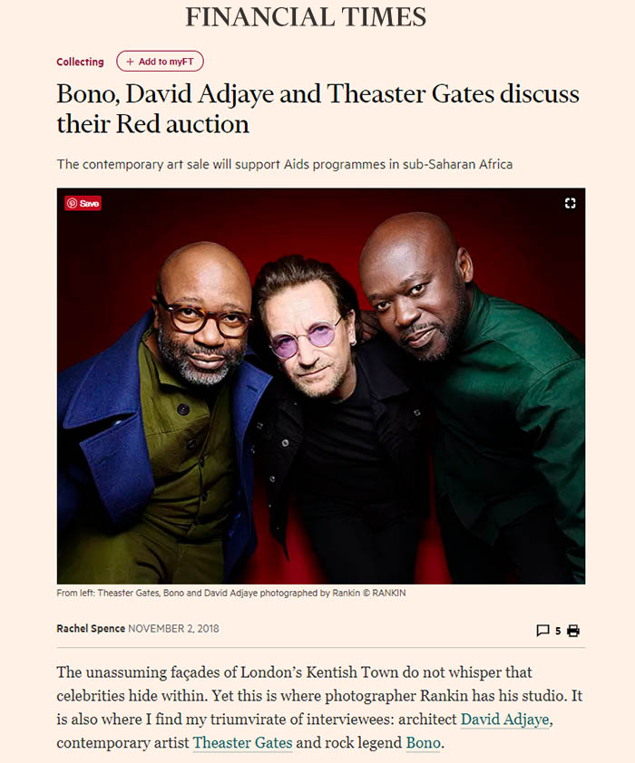 David Adjaye Financial Times Sotheby's Red Auction
