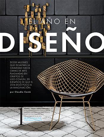 Bertoia Gold Diamond Chair in Elle Decoration Mexico