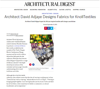 The Adjaye Collection in Architectural Digest