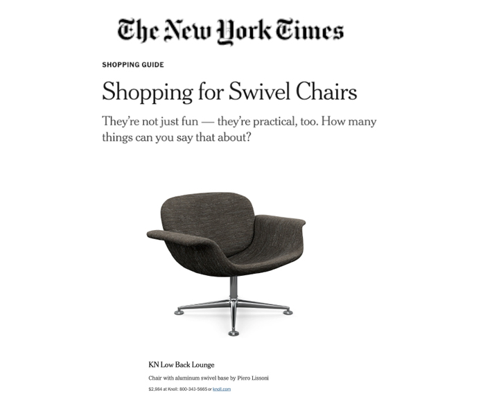 The New York Times Features Knoll KN Collection by Piero Lissoni