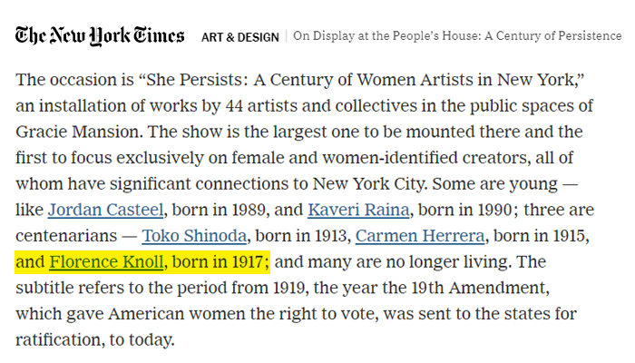 Gracie Mansion She Persists Florence Knoll New York Times