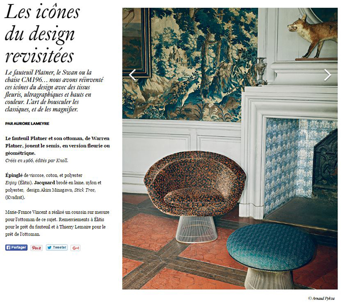 . AD Magazine France Features Platner Furniture   Knoll