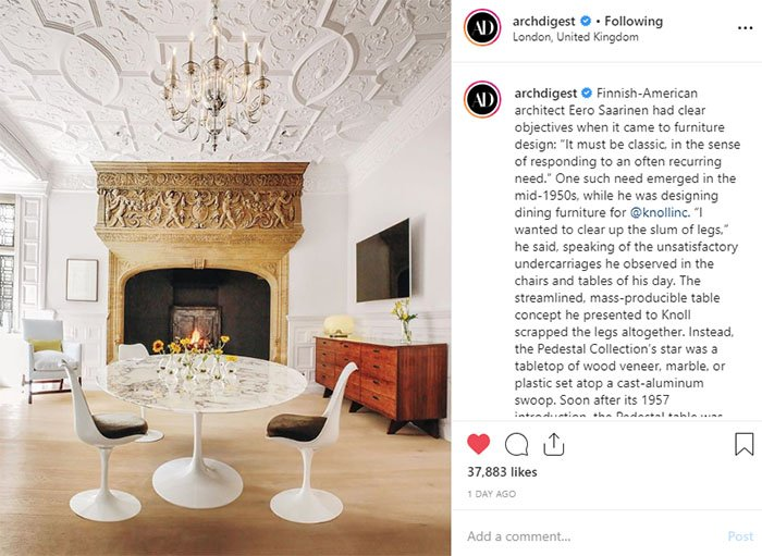 Architectural Digest Highlights Story of Saarinen Knoll Pedestal Table