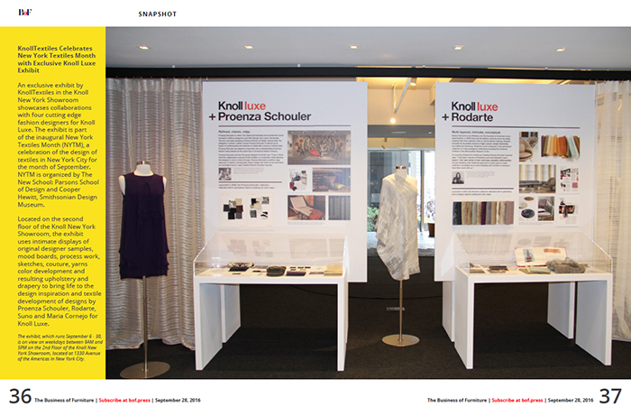 KnollTextiles Exhibition in Business of Furniture
