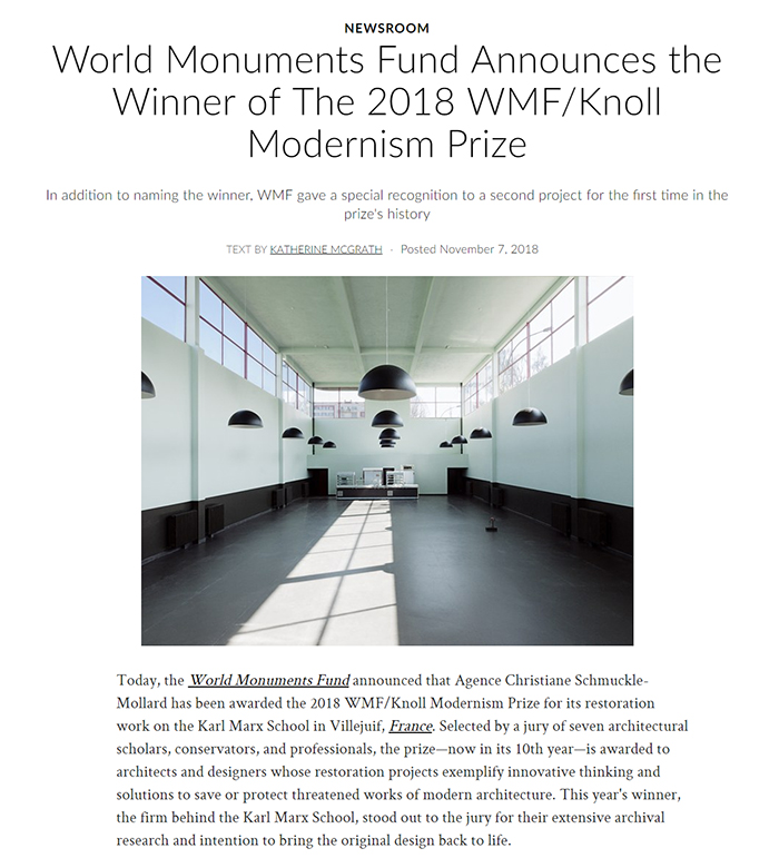 2018 World Monuments Fund/Knoll Modernism Prize Winner Architectural Digest
