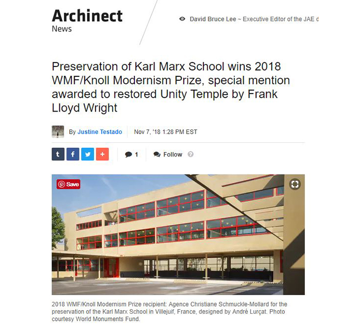 2018 World Monuments Fund/Knoll Modernism Prize Winner Archinet