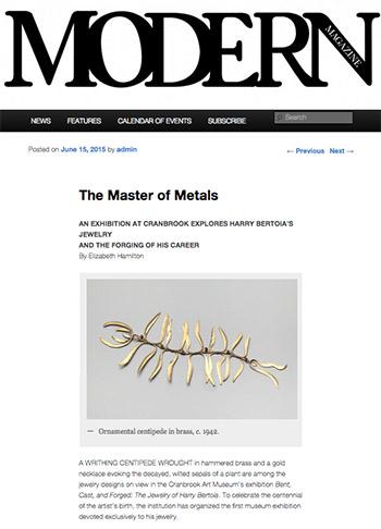 MODERN Magazine on Harry Bertoia's Jewelry at Cranbrook