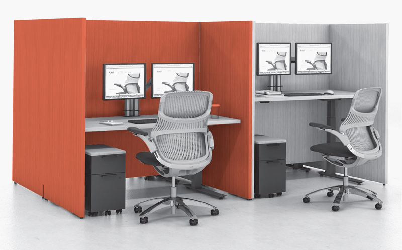 Custom-height veneer gallery panel surrounds with Tone height-adjustable tables