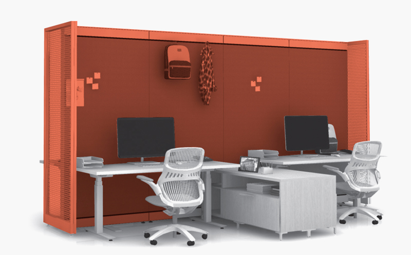 Rockwell Unscripted® Creative Wall® with k. stand height-adjustable tables