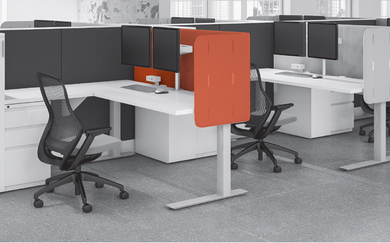 Dividends Horizon panels with curved corner k. screens on Tone height-adjustable tables