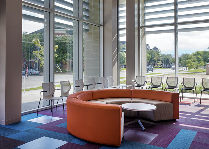 Knoll case study on Legacy Community Health with k. lounge and dividends horizon x base table with MultiGeneration Stacking base