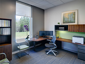 A private office space for executive staff features not only views of the surrounding landscape, but ample storage, worksurfaces and chairs for meetings with fellow staff. Offices have a clean, modern feel.<br><br>Featured: Moment Side Chair, Generation by Knoll<sup>®</sup> Work Chair, Reff Profiles