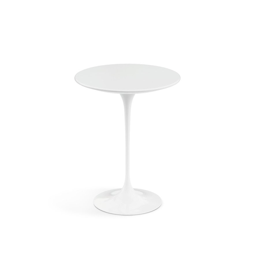 Saarinen Side Table Round Knoll - White round bedside table
