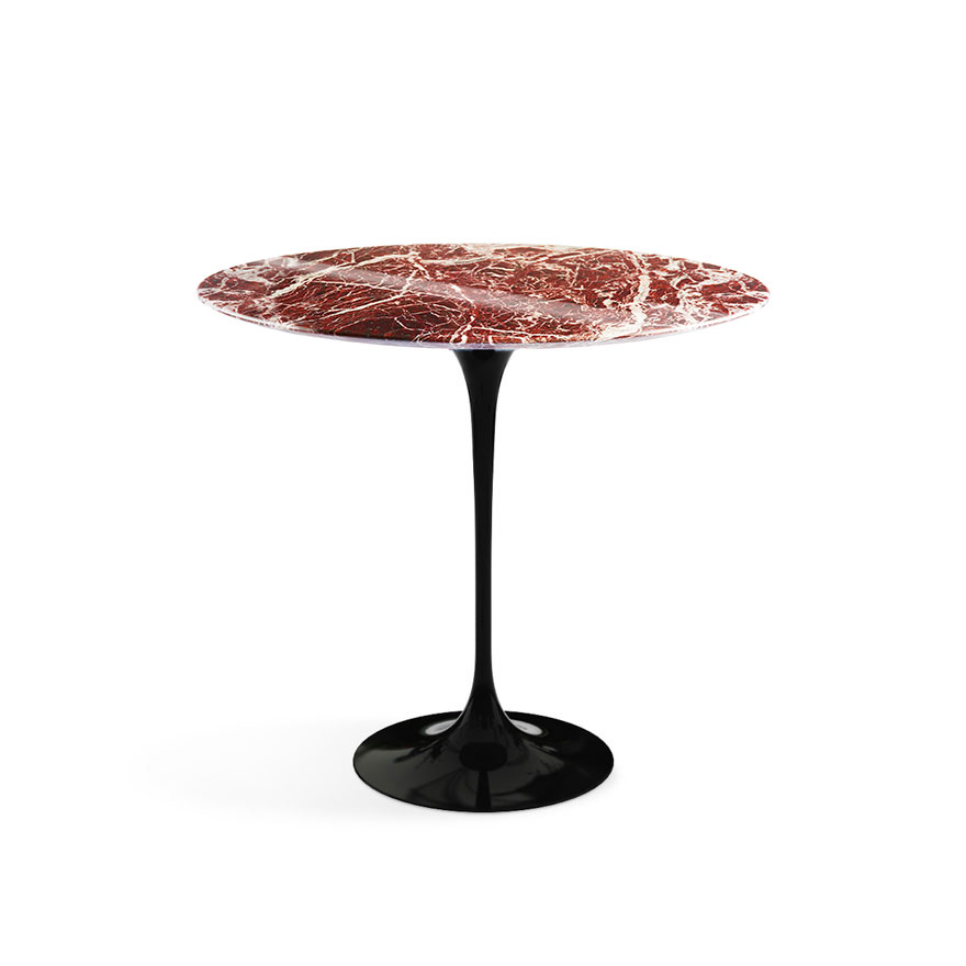 oval side table. Saarinen Oval Side Table, Black Base, Rosso Rubino Marble Top Table