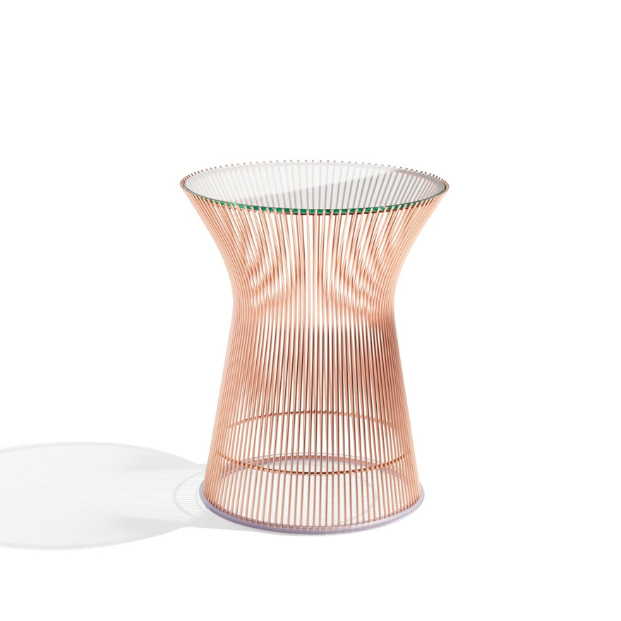 Platner Side Table, Rose Gold Base, Glass Top