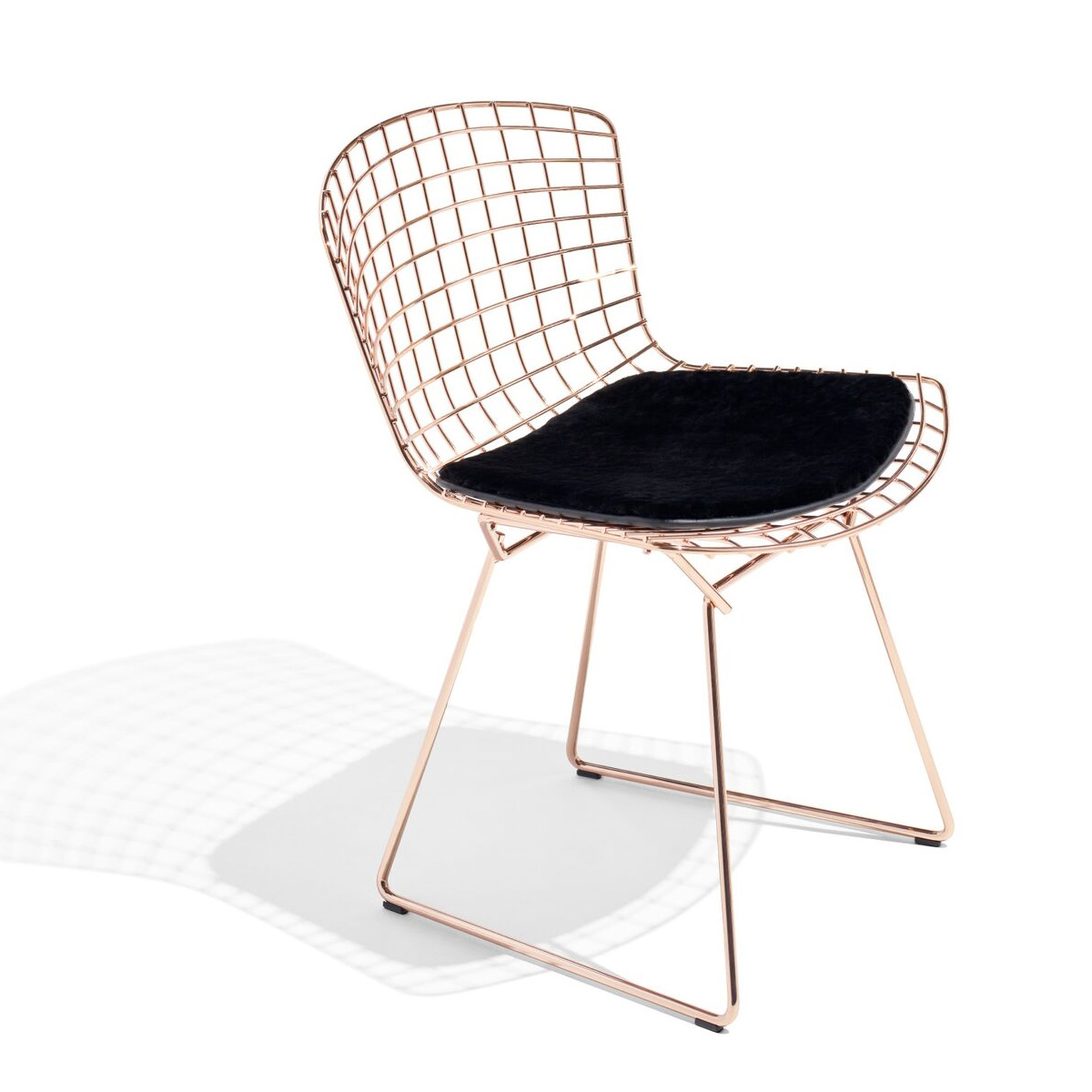 bertoia side chair in rose gold knoll