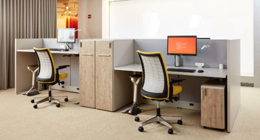 Dividends Horizon with Tone Height-Adjustable Table, Anchor Storage, Remix Work Chair and HiLo.